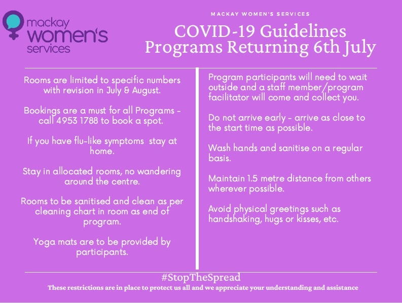 New guidelines for programs at Mackay Women's Centre COVID-19